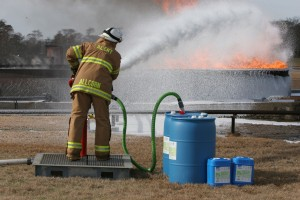 RE-HEALING RF3, 3% foam concentrate being applied to a large simulated storage tank fire