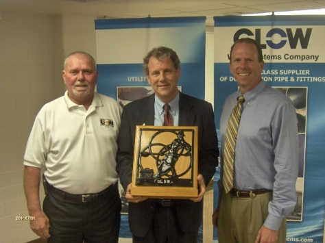L to R: Billy Boyce, International USW Representatice; Senator Brown, and Jeff Otterstedt, McWane Senior VP for Pipe Group