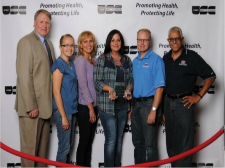 L to R:  Utah Safety Council Representative, Katie Lewis, Karen Tuckett, Angie Reece, Chad Monson and David Vazquez