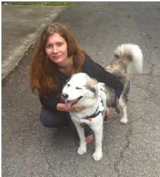 Stefanie Robel with her dog at the Norwood Market at the Trolley Stop