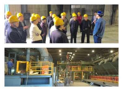 Zhengwei (Joe) Zhou, Tyler XianXian foundry manager speaks to approximately 20 Chinese dignitaries about recent improvements through a new greensand molding line, baghouses, and building air supply system and new M1 greensand molding line and electric furnaces.