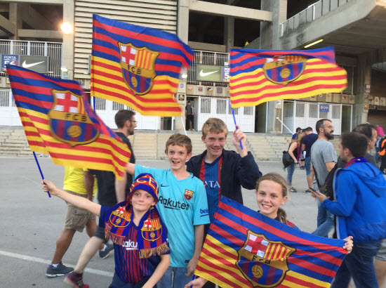 Christopher Hyche about to enter stadium for Barcelona vs Juventus game